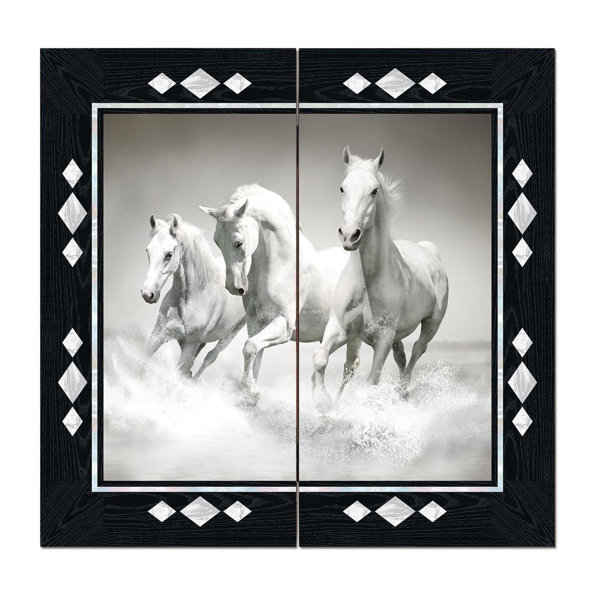 Figürlü Tavla Beyaz Atlar