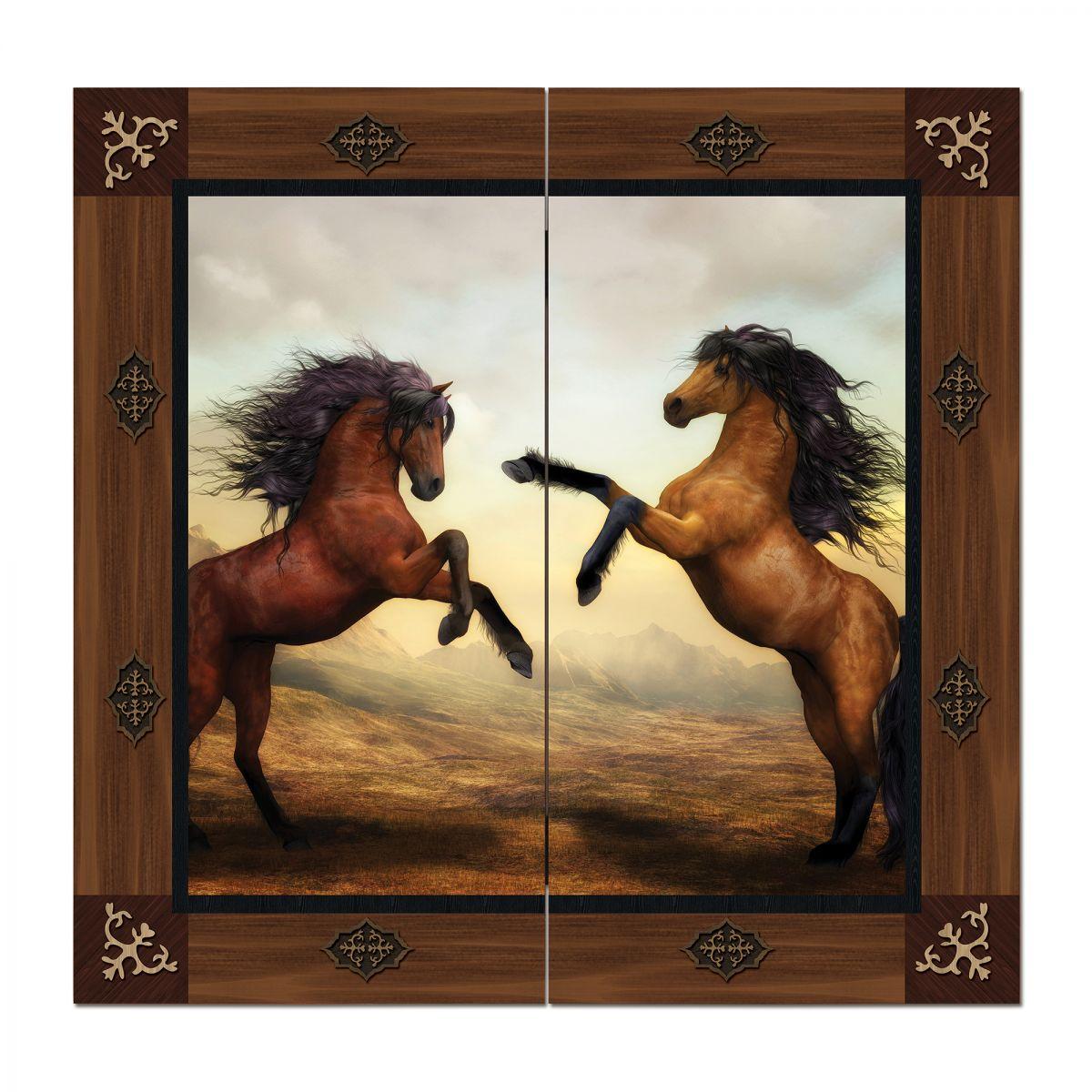 Figürlü Tavla Kahverengi Atlar