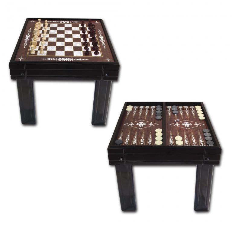 Walnut Desk Backgammon Chess